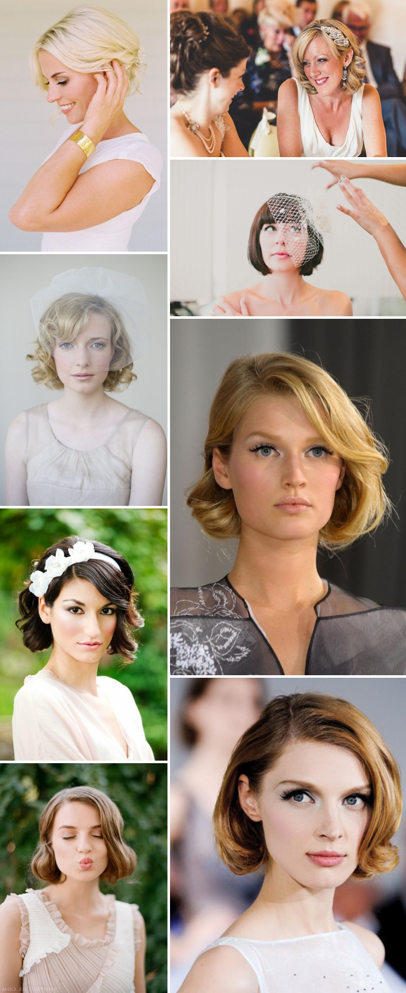 An Idea Filled Inspiration Post Showing Brides How To Style Their Pertaining To 2017 Short Wedding Hairstyles With Vintage Curls (Gallery 8 of 20)