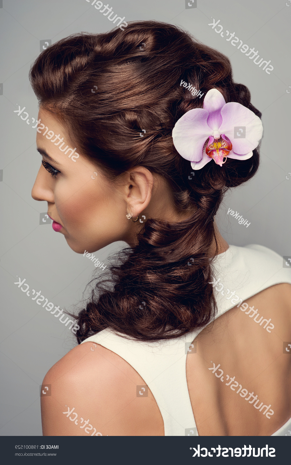 Beautiful Bride Fashion Wedding Hairstyle Orchid Stock Photo (Edit With Well Liked Curly Wedding Hairstyles With An Orchid (View 2 of 20)