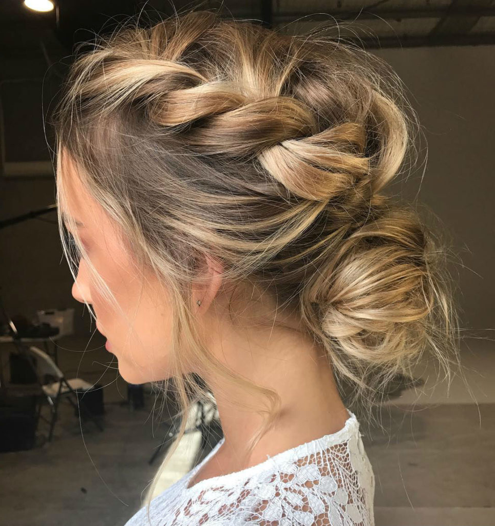 Best And Newest Bohemian Braided Bun Bridal Hairstyles For Short Hair With Regard To 2018 Wedding Hair Trends (View 7 of 20)