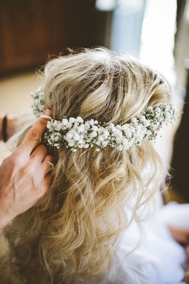 Best And Newest Floral Crown Half Up Half Down Bridal Hairstyles Throughout Half Up Half Down Wedding Hairstyles Updo For Long Hair For Medium (View 6 of 20)