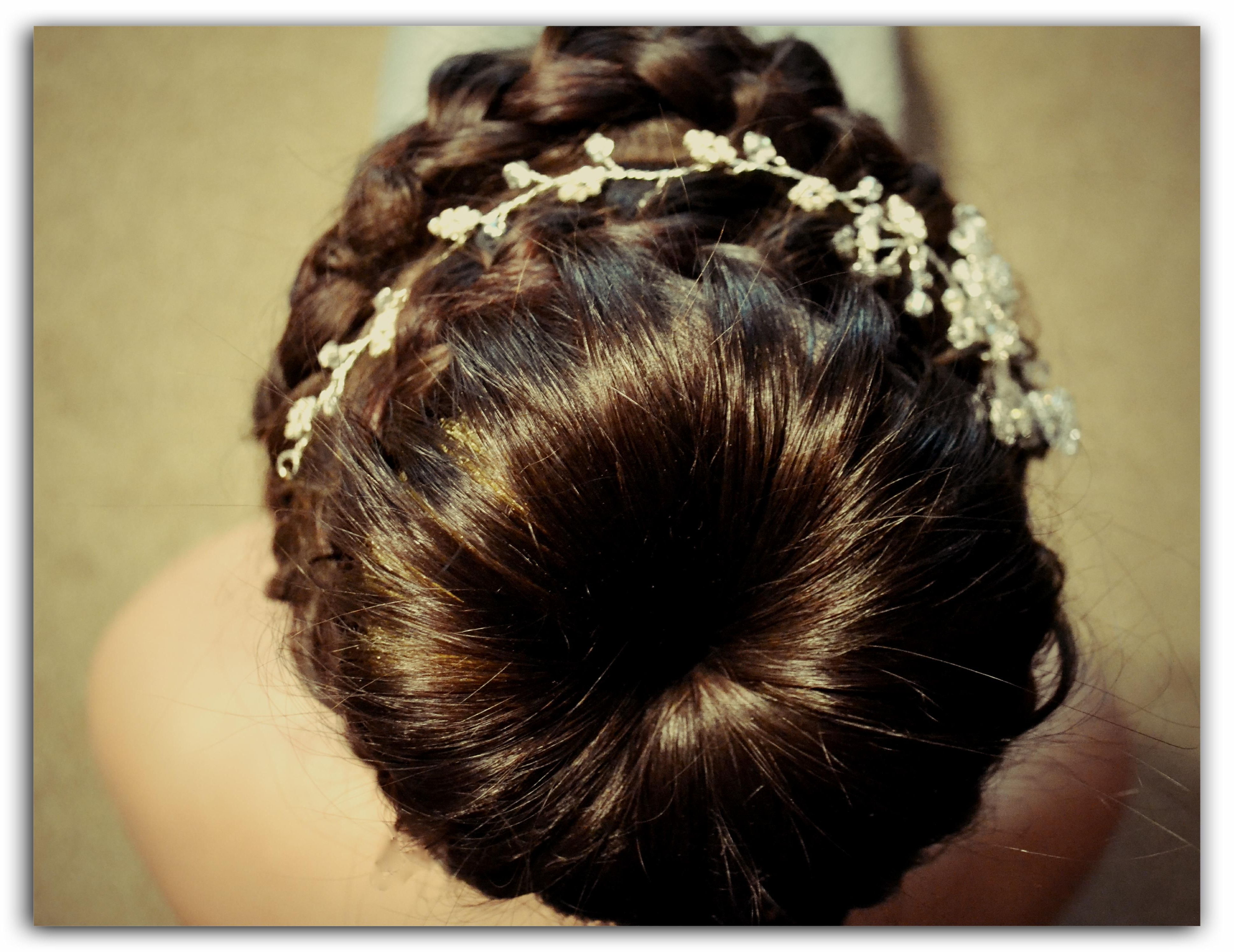 Best And Newest Spiraled Wedding Updos For Braiding Spiraled Around The Bun With A Beautiful Diamonte Vine (View 2 of 20)
