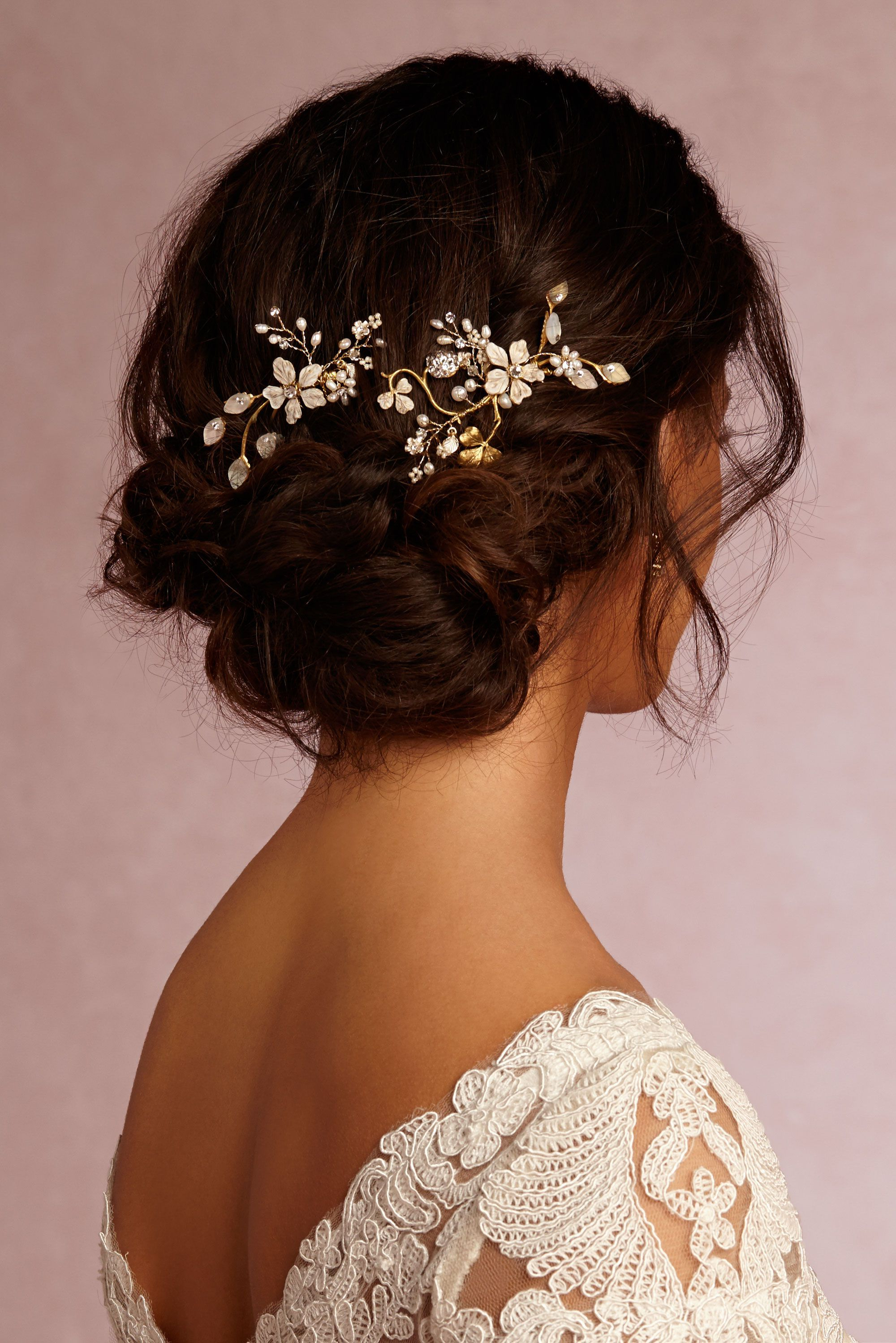 Best And Newest Undone Low Bun Bridal Hairstyles With Floral Headband Intended For Can't Stop Thinking About These Gorgeous Winter Garden Combs From (View 3 of 20)