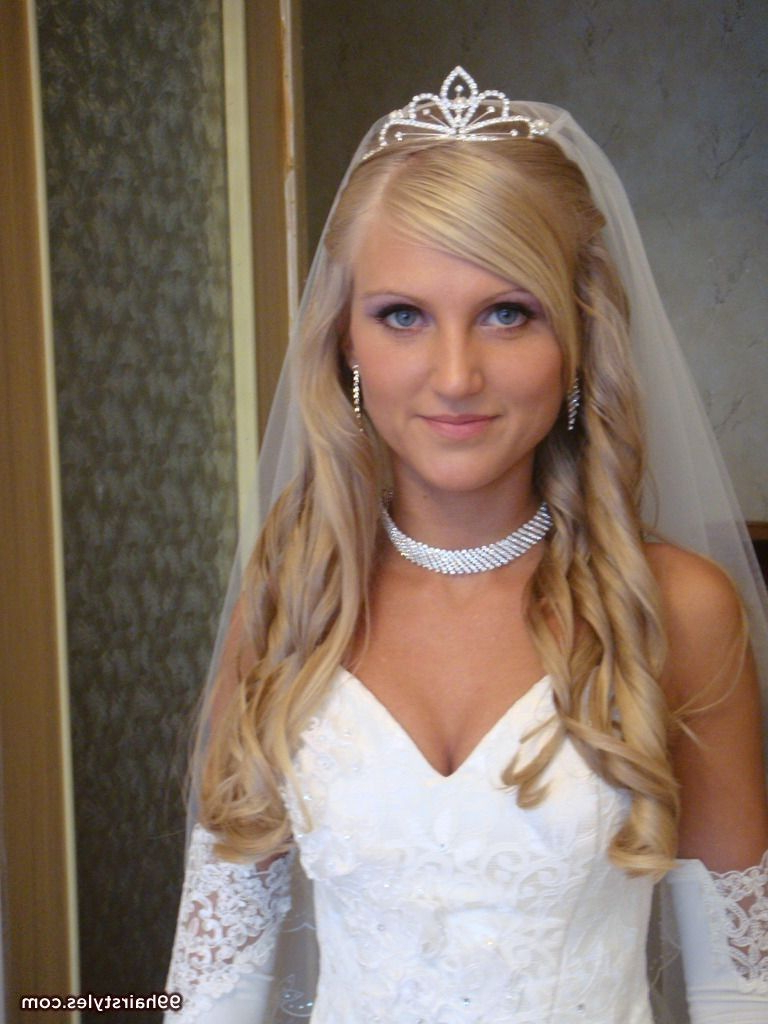 Blonde Half Up Wedding Hairstyle With Tiara – 99 Hairstyles Ideas With Regard To Well Liked Blonde Half Up Bridal Hairstyles With Veil (View 4 of 20)