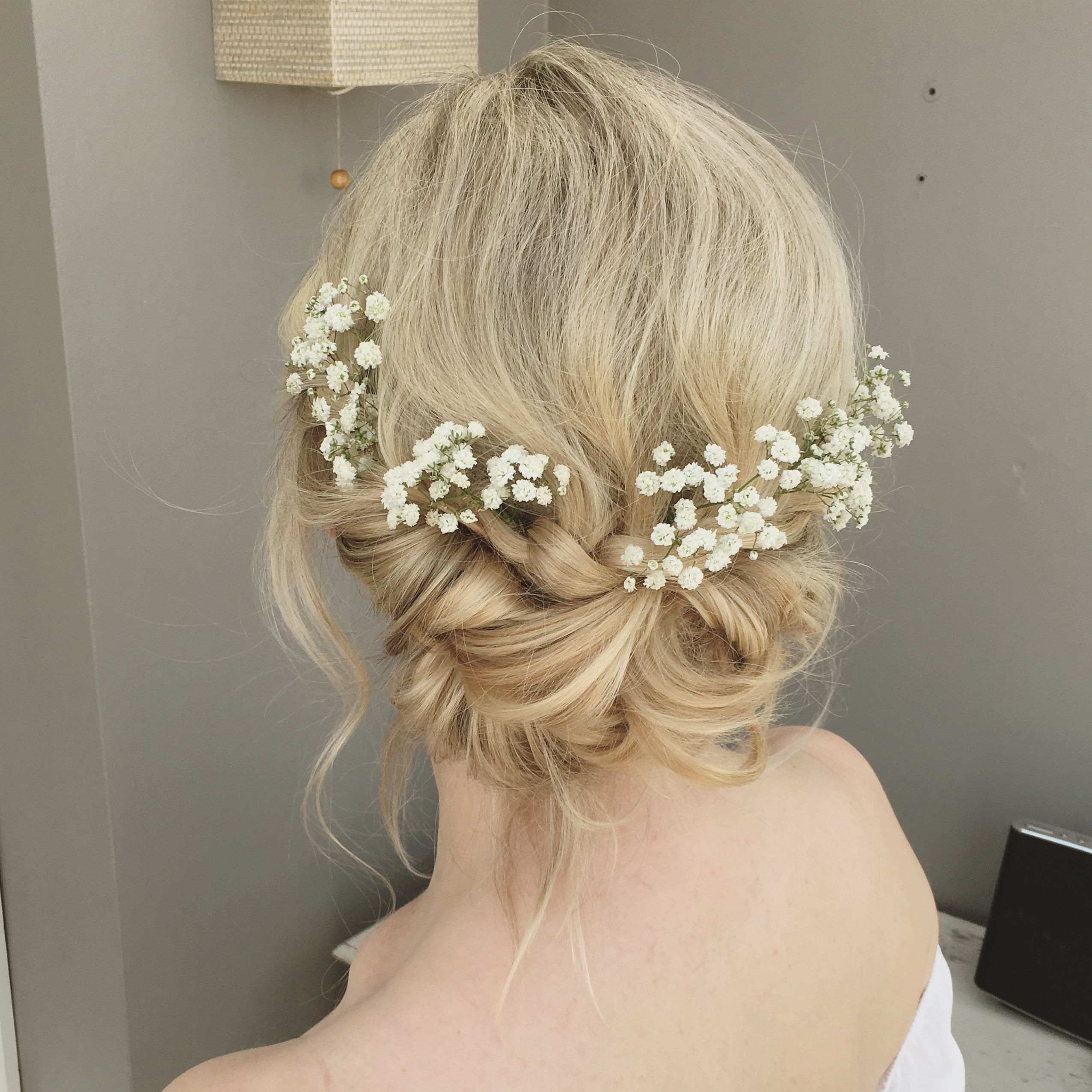 Boho Messy And Relaxed Wedding Hair With Gypsophila And Plaits Woven Regarding Current Woven Updos With Tendrils For Wedding (View 2 of 20)