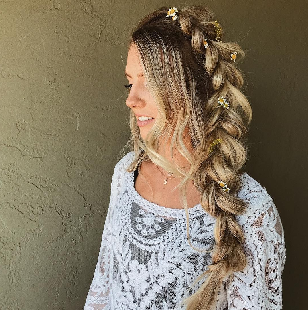 Braids Half Up Half Down Hairstyle , Boho Hairstyle ,updo ,wedding Pertaining To Most Current Semi Bouffant Bridal Hairstyles With Long Bangs (View 5 of 20)