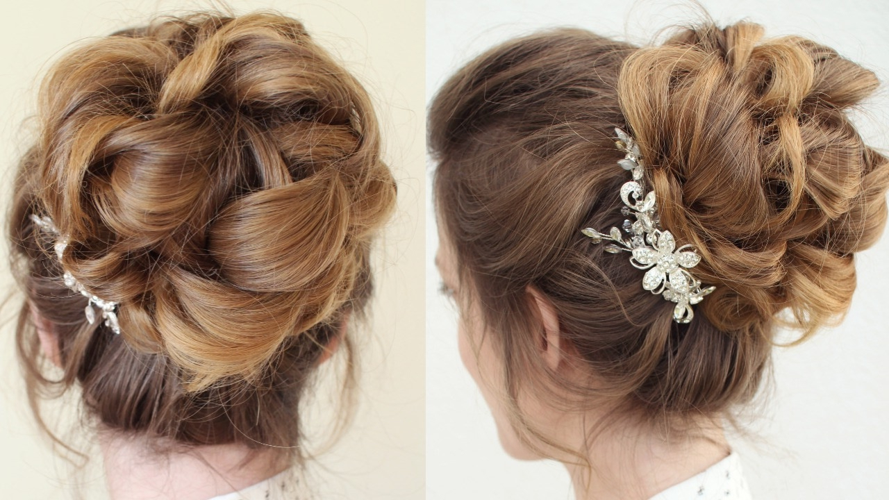 Braidsandstyles12 – Youtube Regarding Widely Used Large Curl Updos For Brides (View 6 of 20)