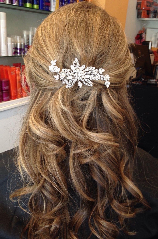 Bridal Hair Accessory. Rhinestone Wedding Hair Clip (View 4 of 20)
