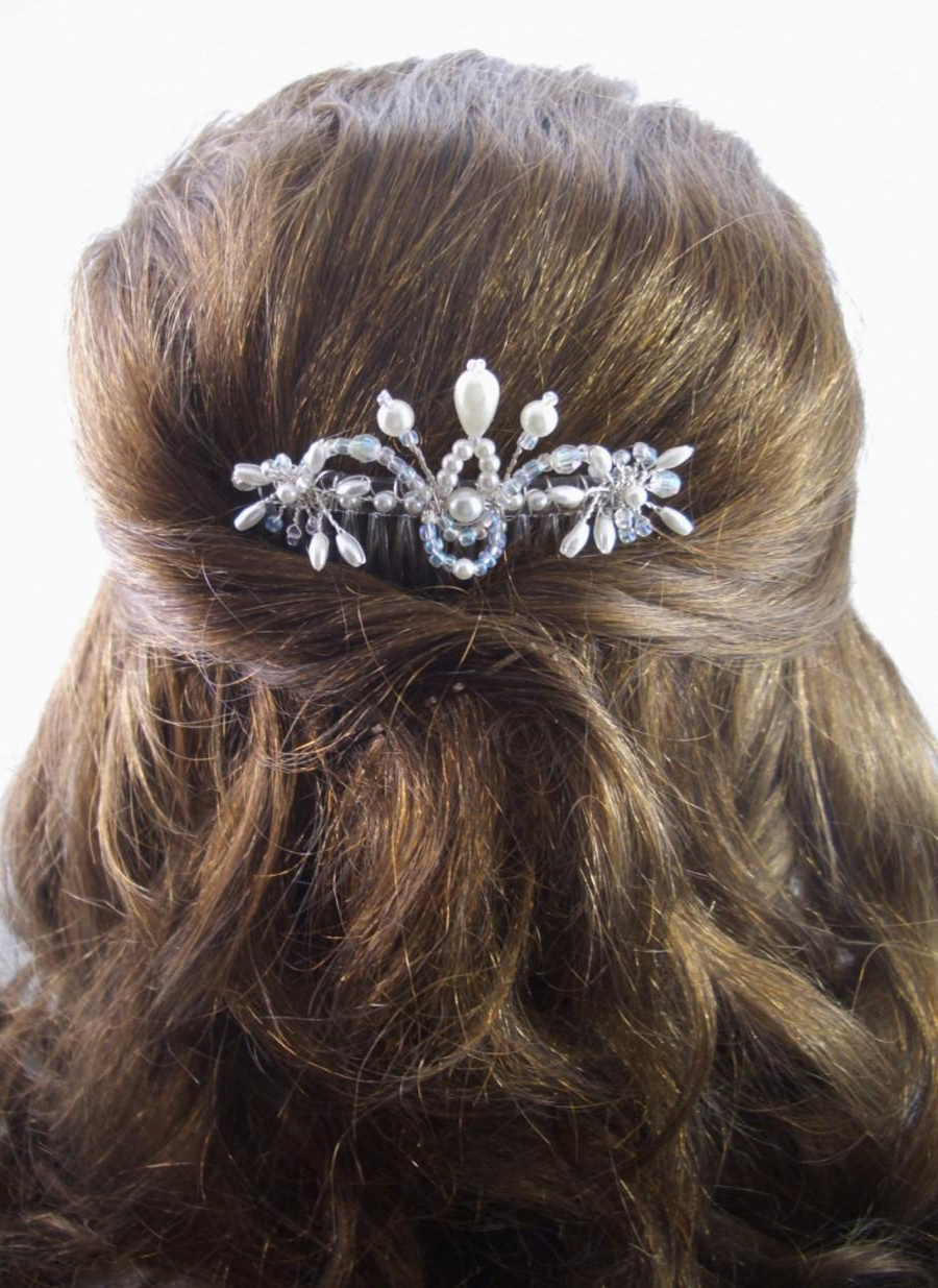 Bridal Hair Comb, Fft Original Design, Crystals Pearls Wedding Regarding Well Known Pearls Bridal Hairstyles (View 3 of 20)