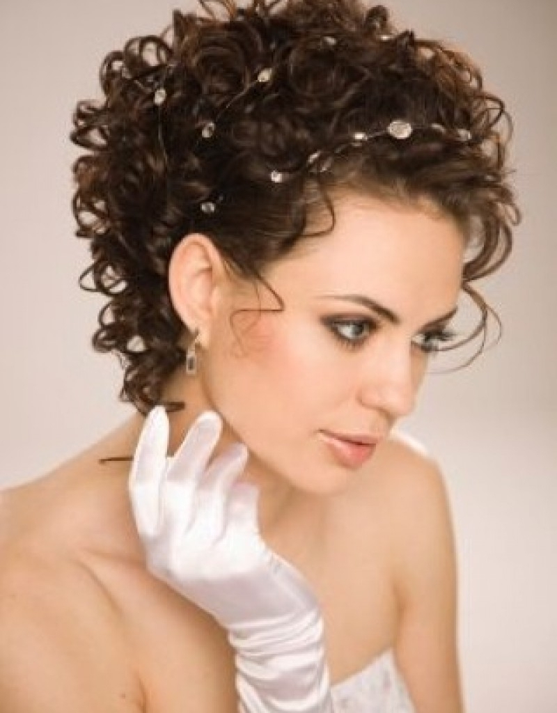 Bridal Hairstyle For Short Curly Hair – Wedding Hair Styles Within 2018 Curly Wedding Updos For Short Hair (View 5 of 20)