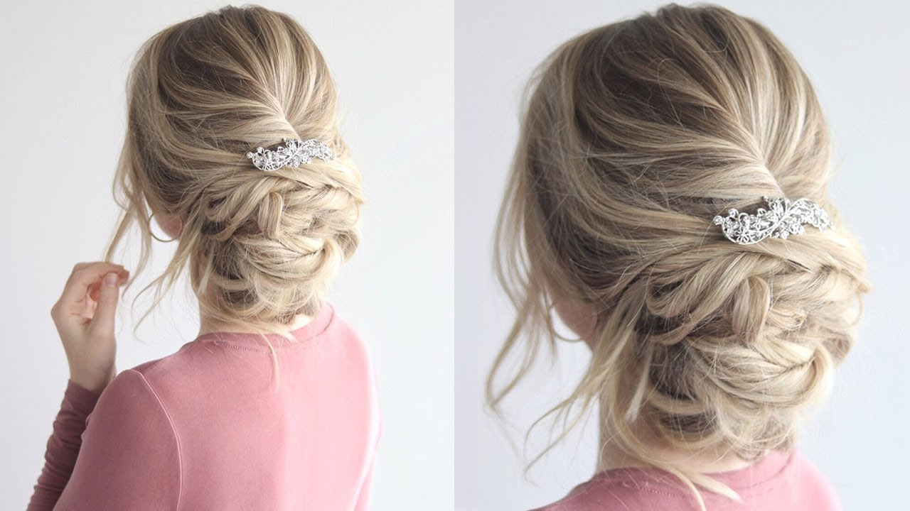 Bridal Hairstyle – Youtube For Most Popular Messy Bridal Updo Bridal Hairstyles (View 6 of 20)
