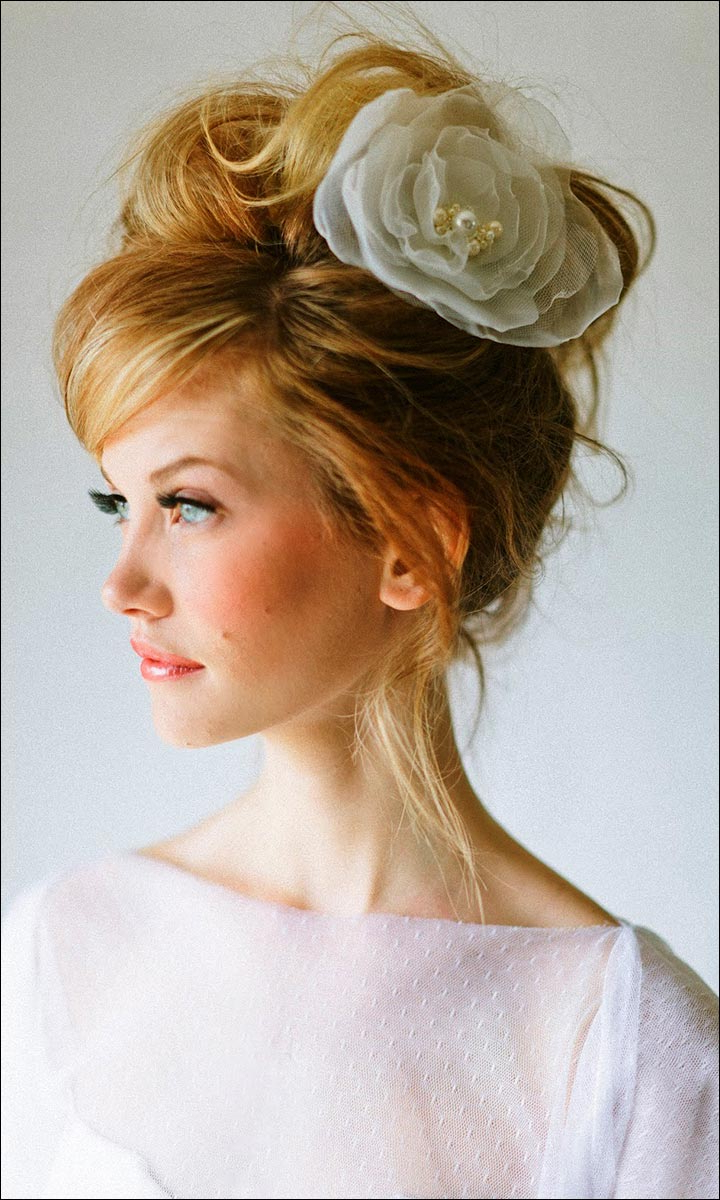 Bridal Hairstyles For Medium Hair: 32 Looks Trending This Season With Regard To Best And Newest Bouffant And Chignon Bridal Updos For Long Hair (View 9 of 20)