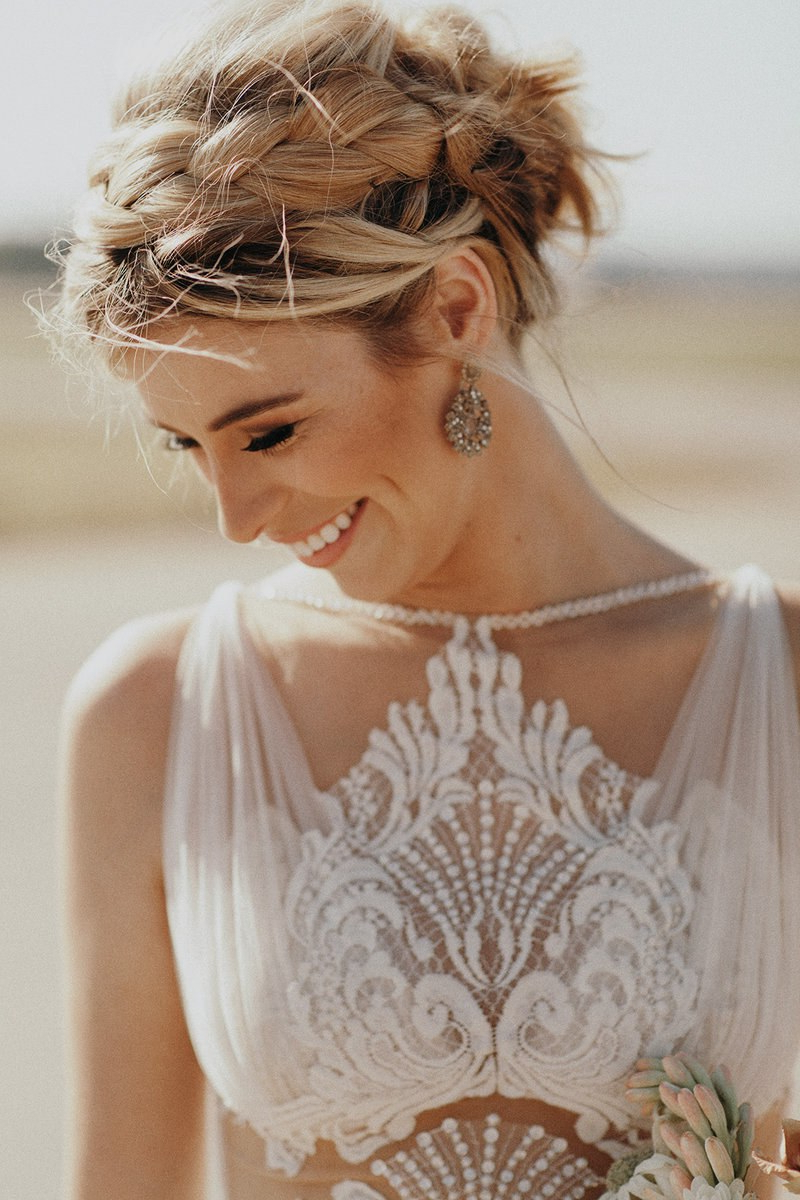 Brides Intended For Recent Bohemian Braided Bun Bridal Hairstyles For Short Hair (View 8 of 20)