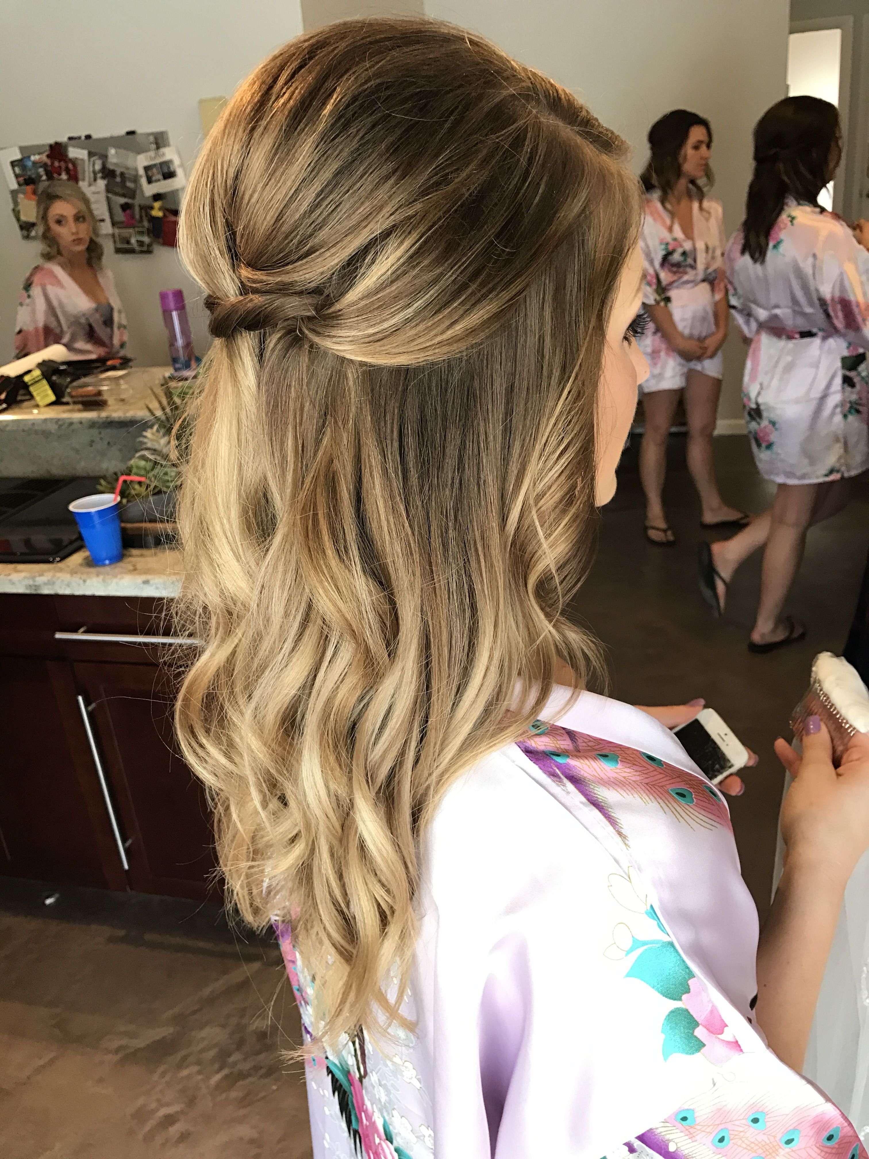 Bridesmaid Or Bridal Hairstyle! Loose Curls Half Up Half Down Updo Intended For Trendy Loose Updo Wedding Hairstyles With Whipped Curls (View 5 of 20)