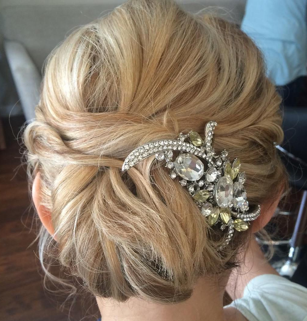 Chignons, Medium Hair Intended For Most Up To Date Bedazzled Chic Hairstyles For Wedding (View 9 of 20)