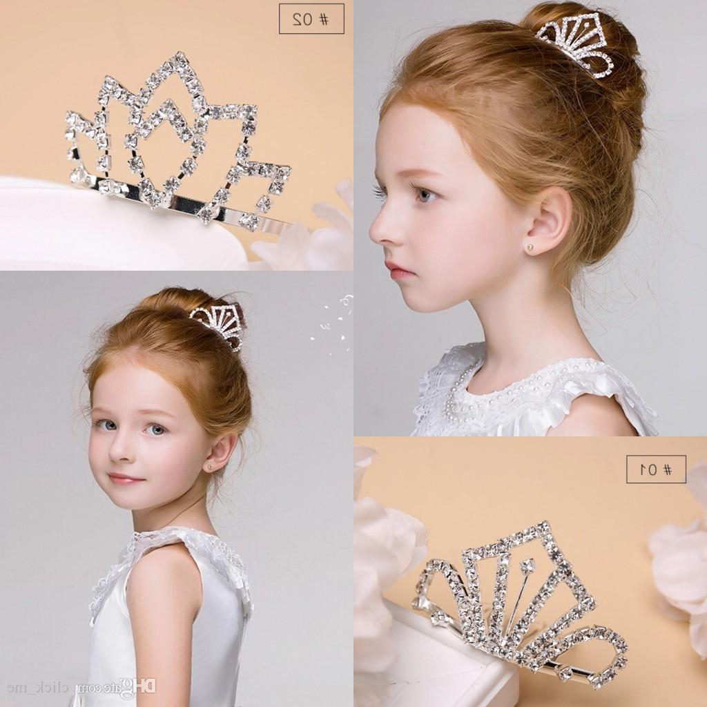 Crystal Diamond Girls Headpieces Kids Crown For Flower Girl Regarding Most Recently Released High Updos With Jeweled Headband For Brides (View 7 of 20)