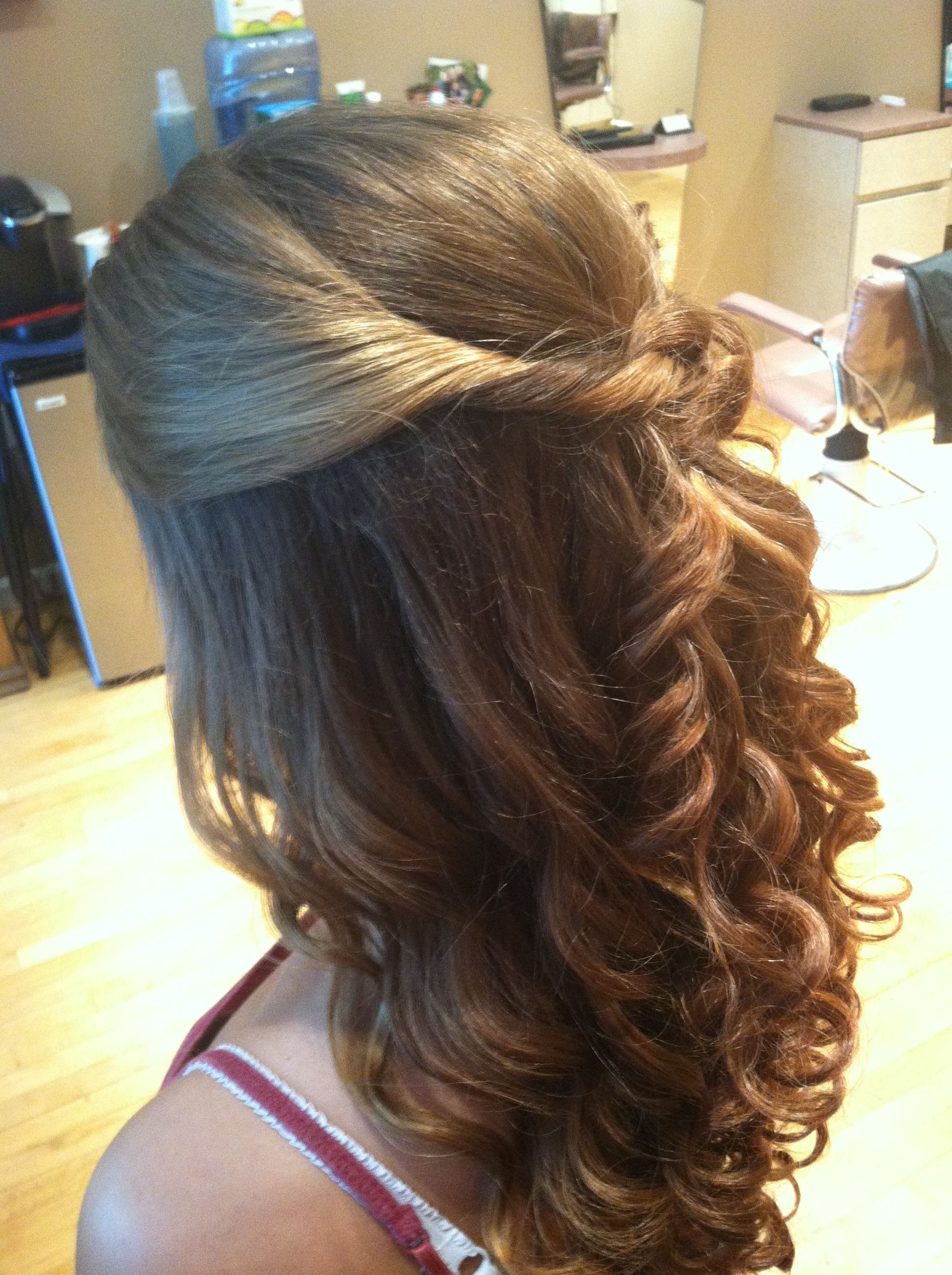 Curled With A Wand, Knotted Half Up With Cascading Spiral Curls Regarding 2018 Fabulous Cascade Of Loose Curls Bridal Hairstyles (View 2 of 20)
