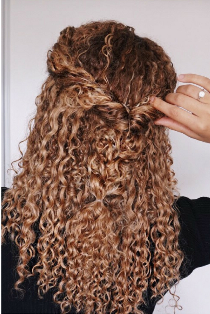 Curly Hairstyles, Natural Hair, 3B, 3C, Curls, Half Updo, Braids In Most Up To Date Half Up Blonde Ombre Curls Bridal Hairstyles (View 5 of 20)