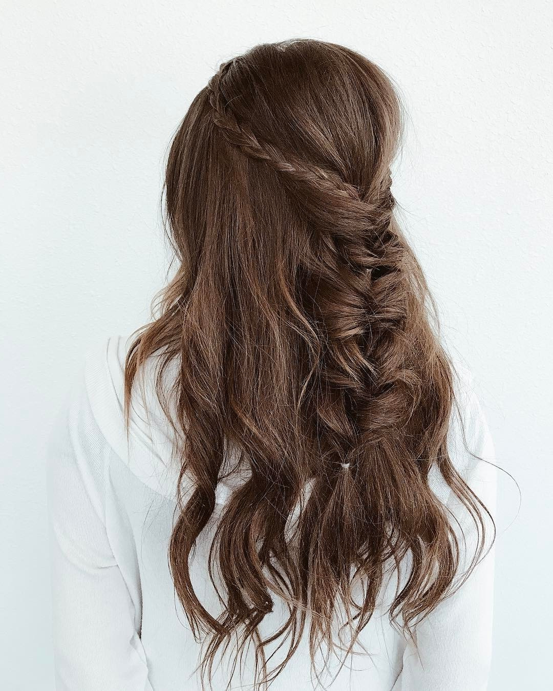 Current Braided Wedding Hairstyles With Subtle Waves In Wavy Wedding Hairstyle With Braided Crown And Fishtail Braid (View 6 of 20)