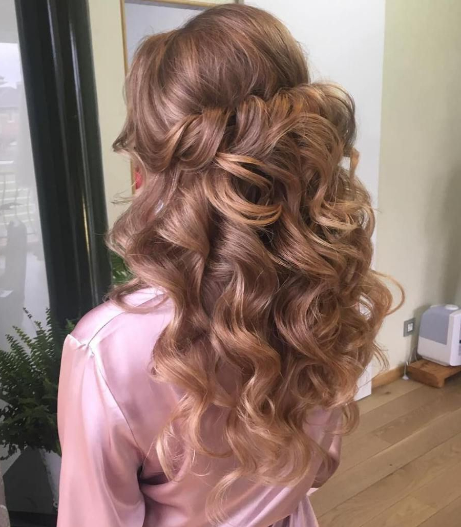 Current Curly Wedding Updos With A Bouffant For 50 Half Updos For Your Perfect Everyday And Party Looks (Gallery 17 of 20)