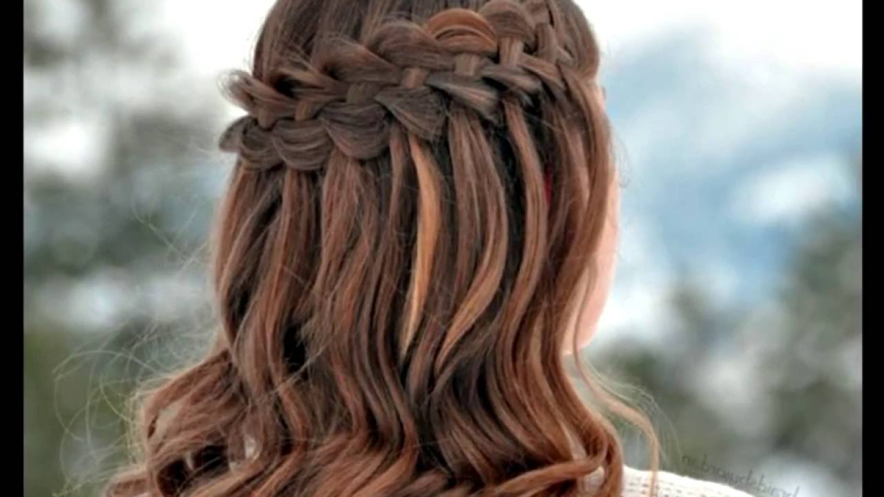 Current Diagonal Waterfall Braid In Half Up Bridal Hairstyles With Regard To 10 Flowing Waterfall Braid Styles – Youtube (View 2 of 20)