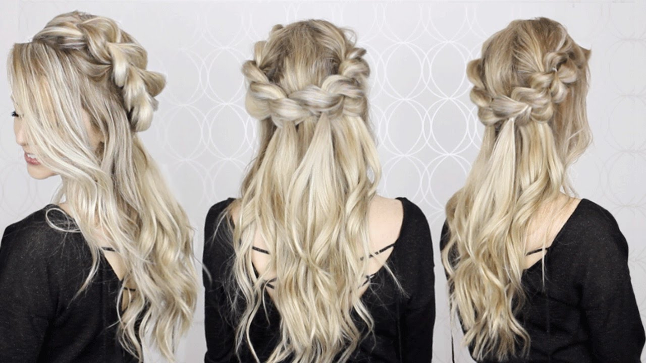 Current Easy Cute Gray Half Updo Hairstyles For Wedding With Regard To How To: Half Up Half Down Pull Through Braid & Waves Tutorial (View 6 of 20)