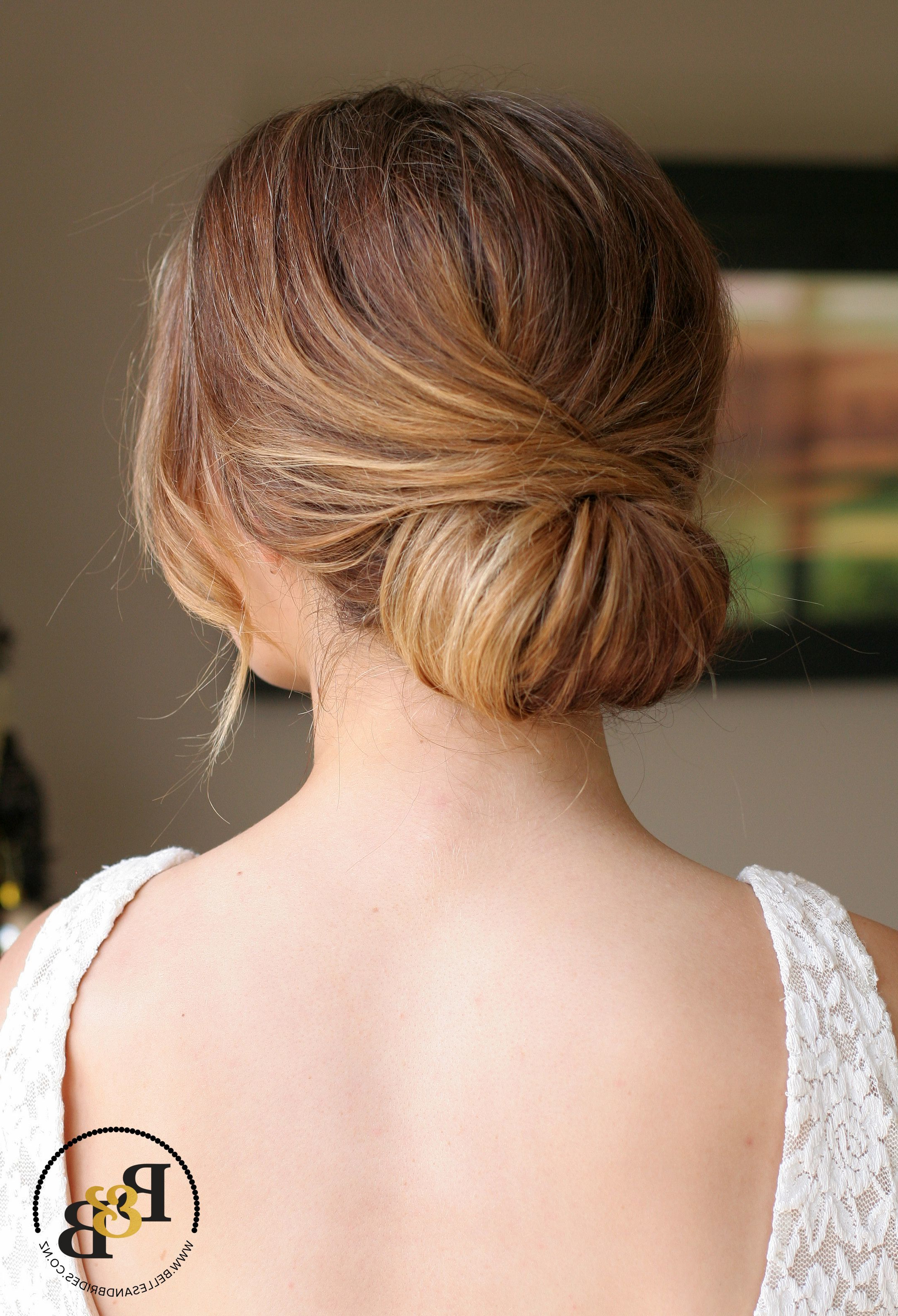 Current Embellished Twisted Bun For Brides For Wedding Hair Low Chignon / Casual Bridal Chignon / Soft Romantic (View 9 of 20)