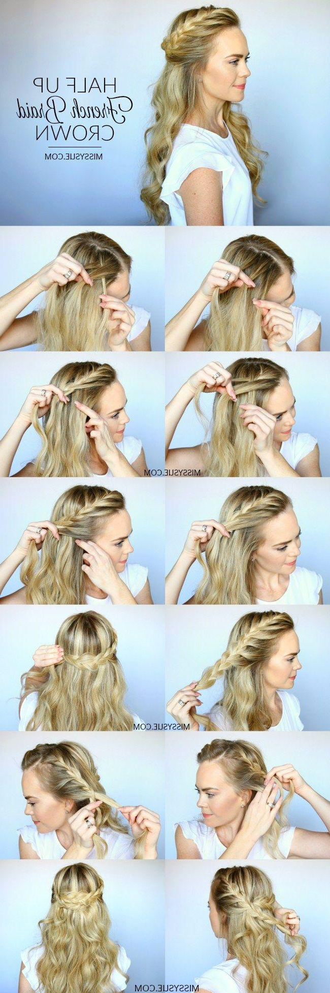 Current French Braided Halfdo Bridal Hairstyles Intended For Hair – Half Up French Braid Crown #2664788 – Weddbook (View 7 of 20)