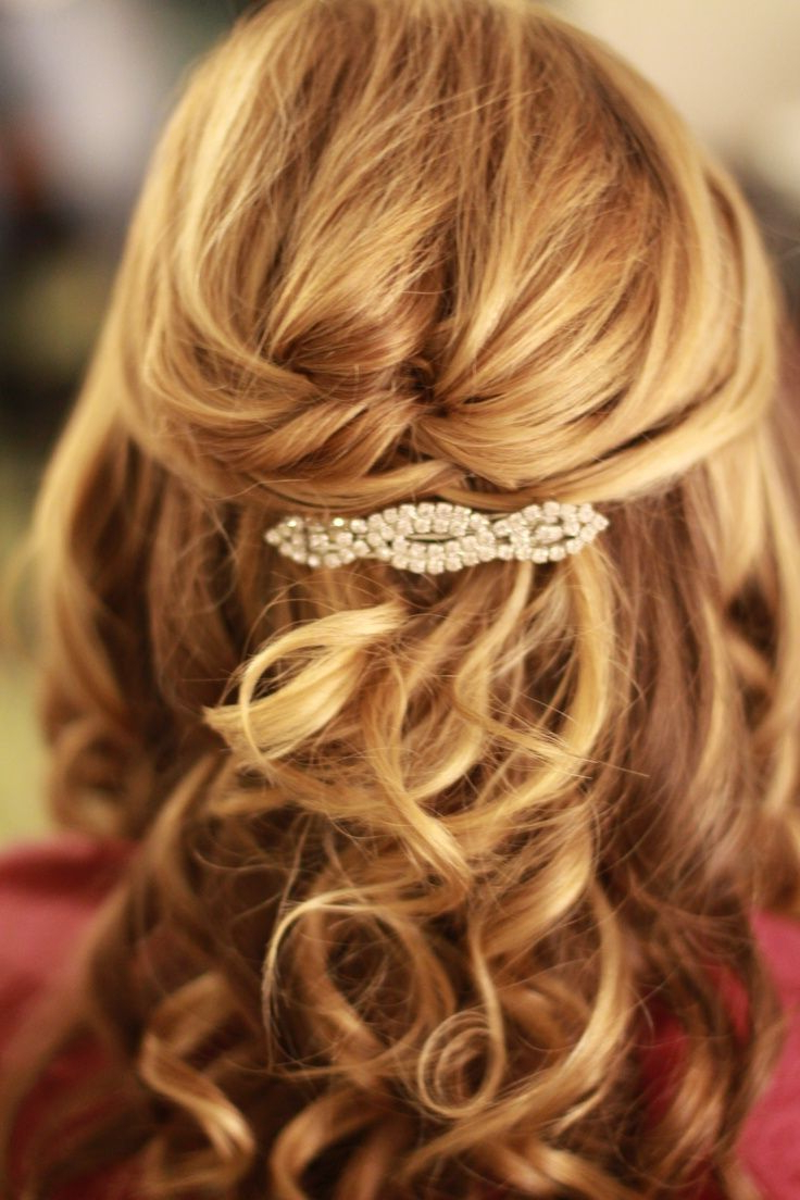 Current Half Up Wedding Hairstyles With Jeweled Clip With Images For > Prom Hairstyles For Long Hair Half Up Half Down (View 10 of 20)