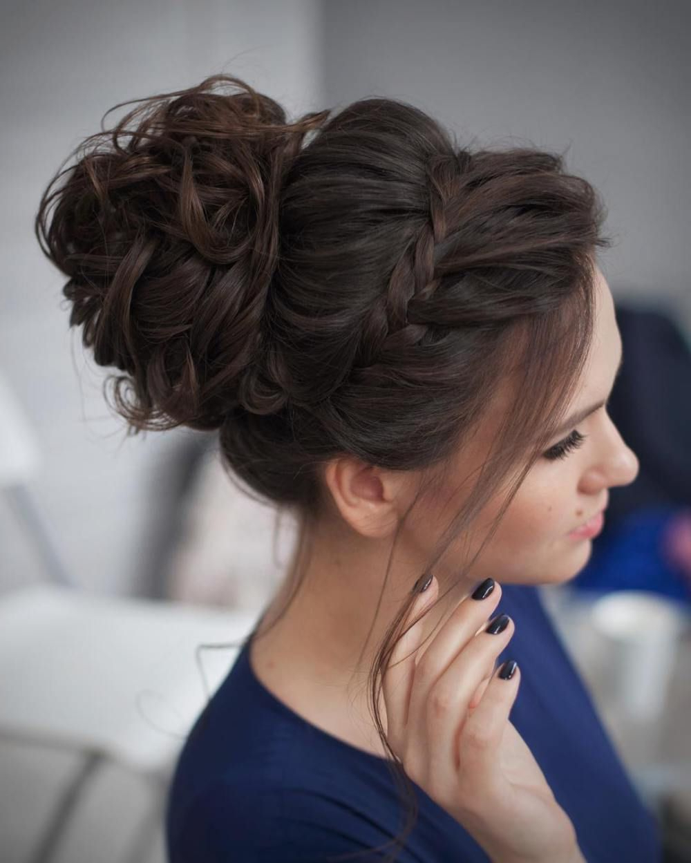 Current Large Curly Bun Bridal Hairstyles With Beaded Clip For 40 Most Delightful Prom Updos For Long Hair In 2019 In (View 7 of 20)