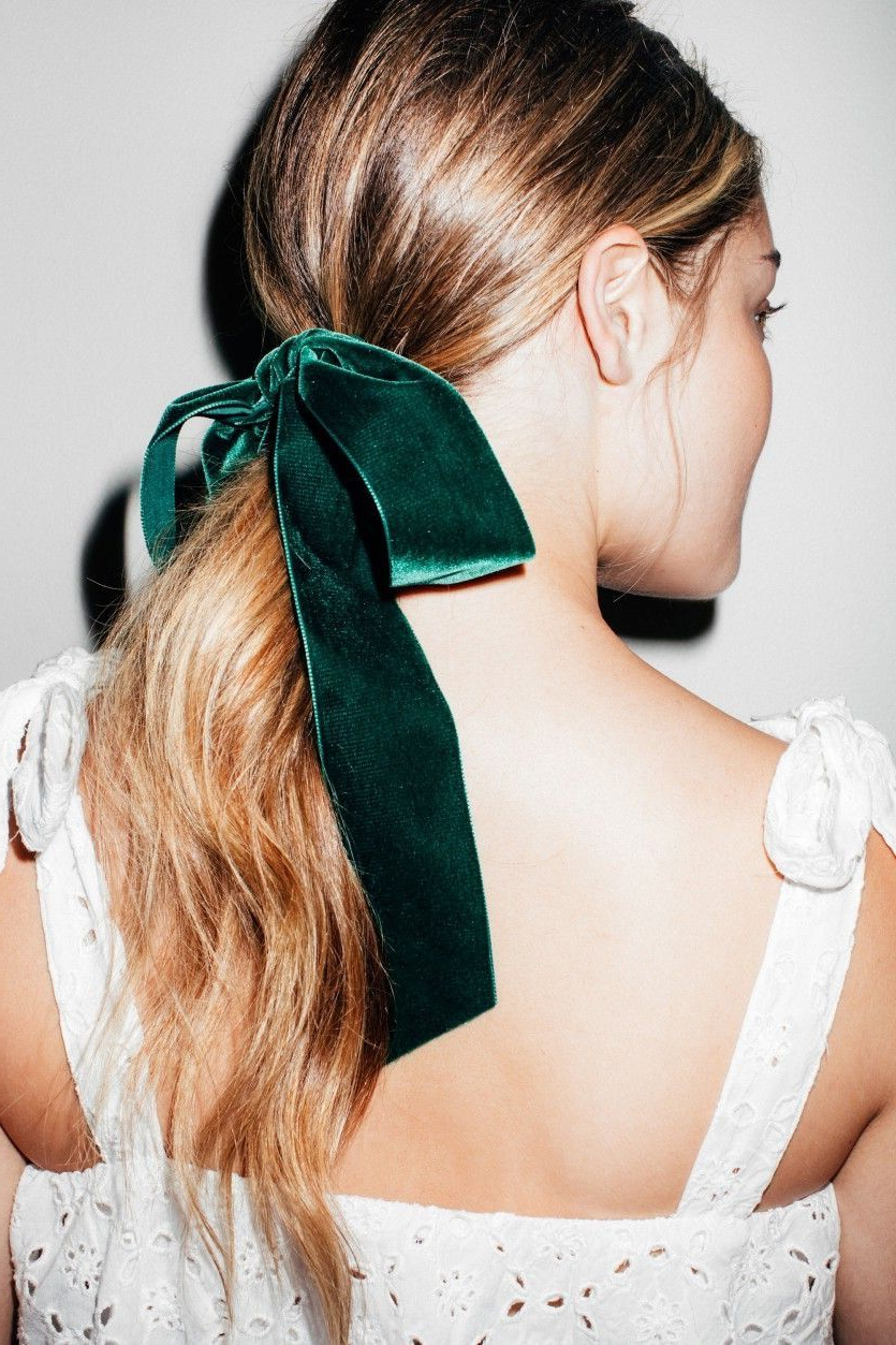 Current Pinned Brunette Ribbons Bridal Hairstyles For Hair Style Inspiration : Pretty Hairstyle With Velvet Bows (View 12 of 20)