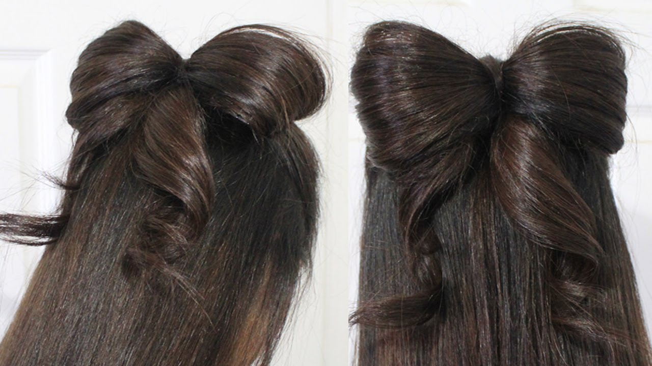 Current Wedding Updos With Bow Design Pertaining To Hair Bow Tutorial Hairstyle Half Updo For Medium Long Hair – Youtube (View 10 of 20)