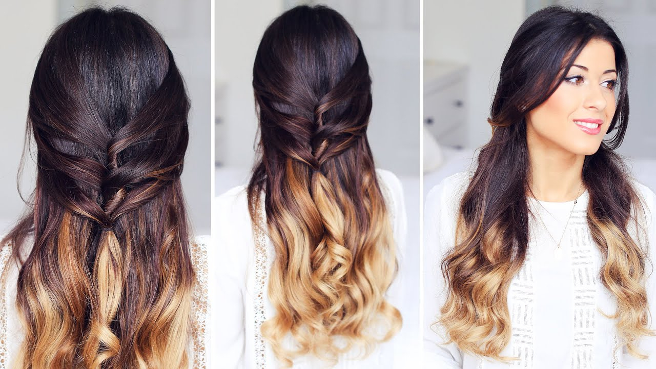 Cute Half Up, Half Down Hairstyle – Youtube Within Latest Half Up Blonde Ombre Curls Bridal Hairstyles (View 7 of 20)