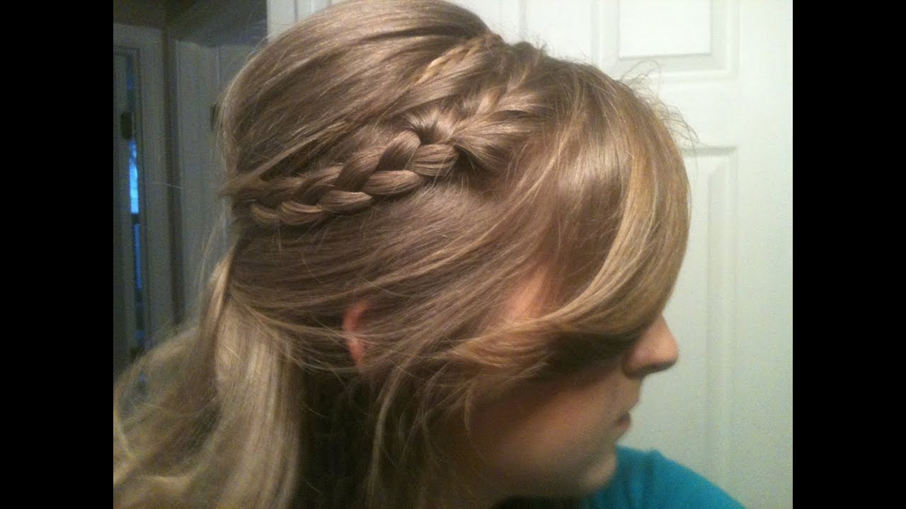 Cute Half Updo Poof/bump With Headband Braids – Youtube Pertaining To Most Up To Date Bumped Twist Half Updo Bridal Hairstyles (View 10 of 20)