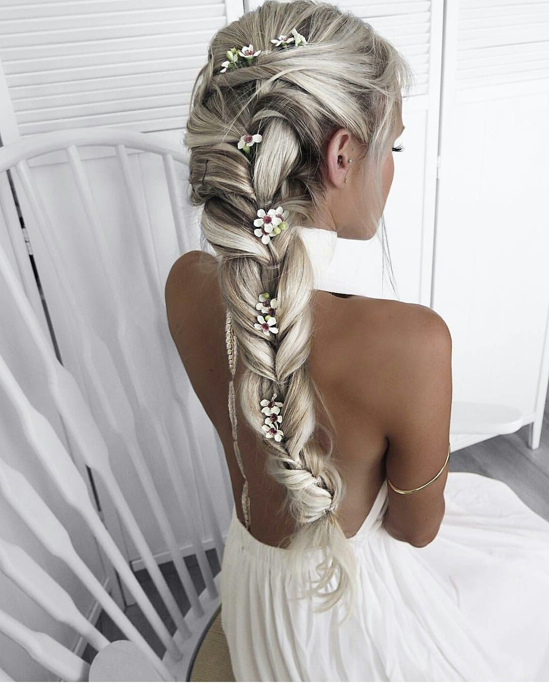 Don't Know What To Do With Your Hair: Check Out This Trendy Ghana With Most Recently Released Double Braid Bridal Hairstyles With Fresh Flowers (View 14 of 20)