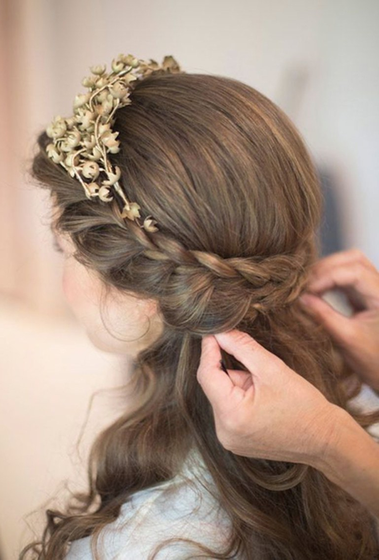 Double Braided Half Up Hairstyle With A Tiara (Gallery 13 of 20)