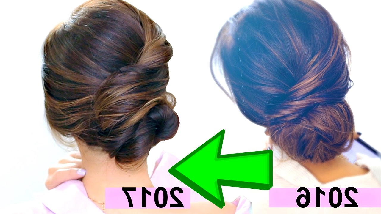 "☆ Top 3 ""easy Elegant Bun"" Hairstyles Of 2017 💜 Romantic Updo Throughout Widely Used Chic And Sophisticated Chignon Hairstyles For Wedding (View 1 of 20)"