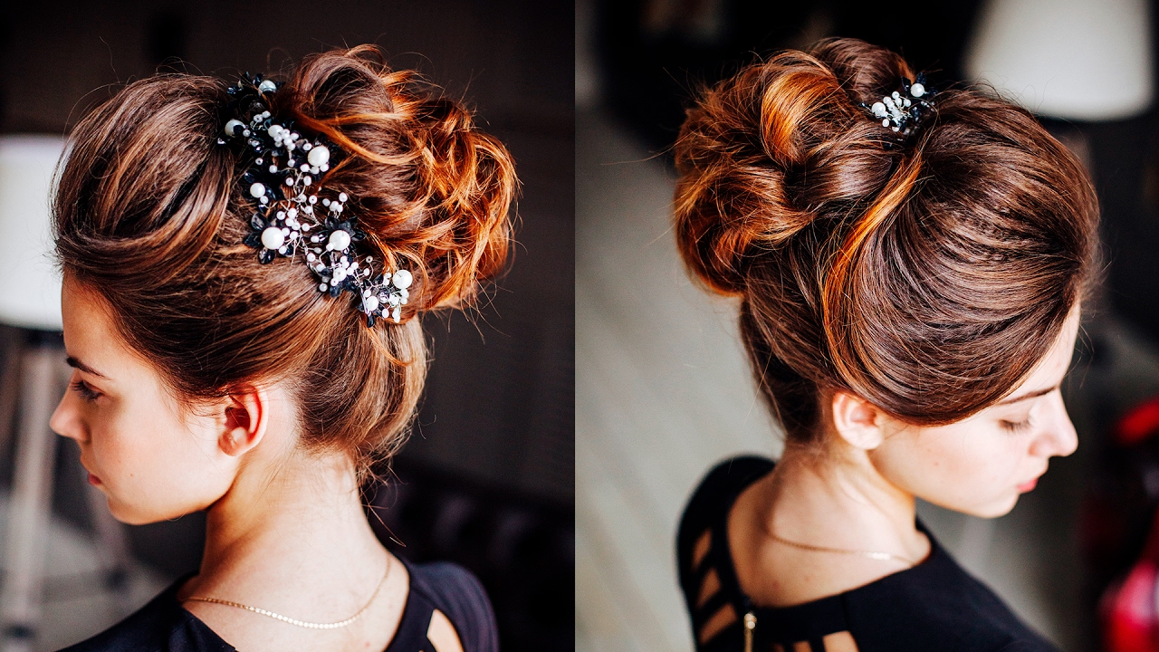 Easy Hairstyle – Messy Bun With Ponytale / Long Lenght Updo For Dark With Regard To Popular Messy Buns Updo Bridal Hairstyles (View 3 of 20)