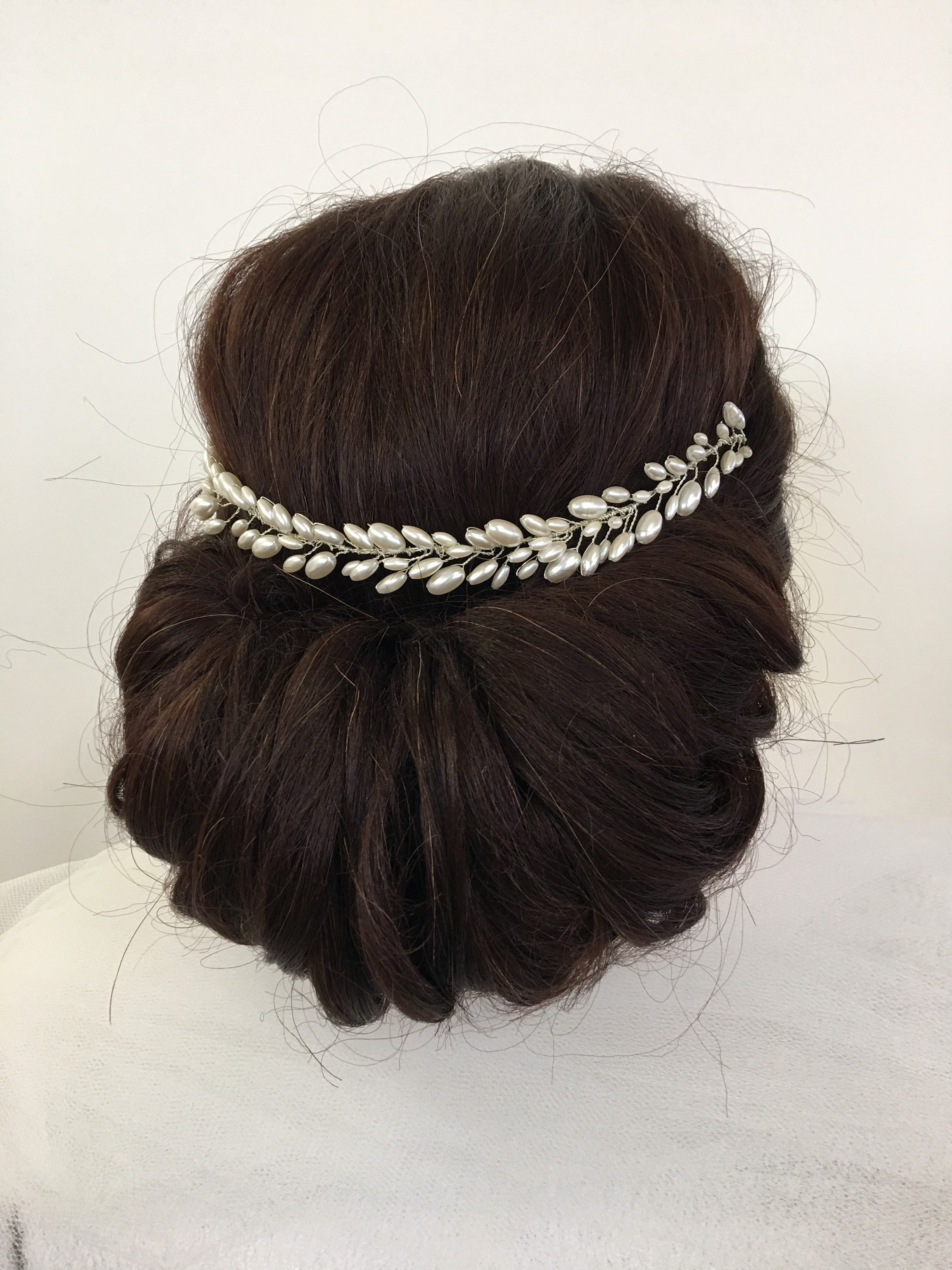 Etsy With Regard To Popular Pinned Brunette Ribbons Bridal Hairstyles (View 7 of 20)