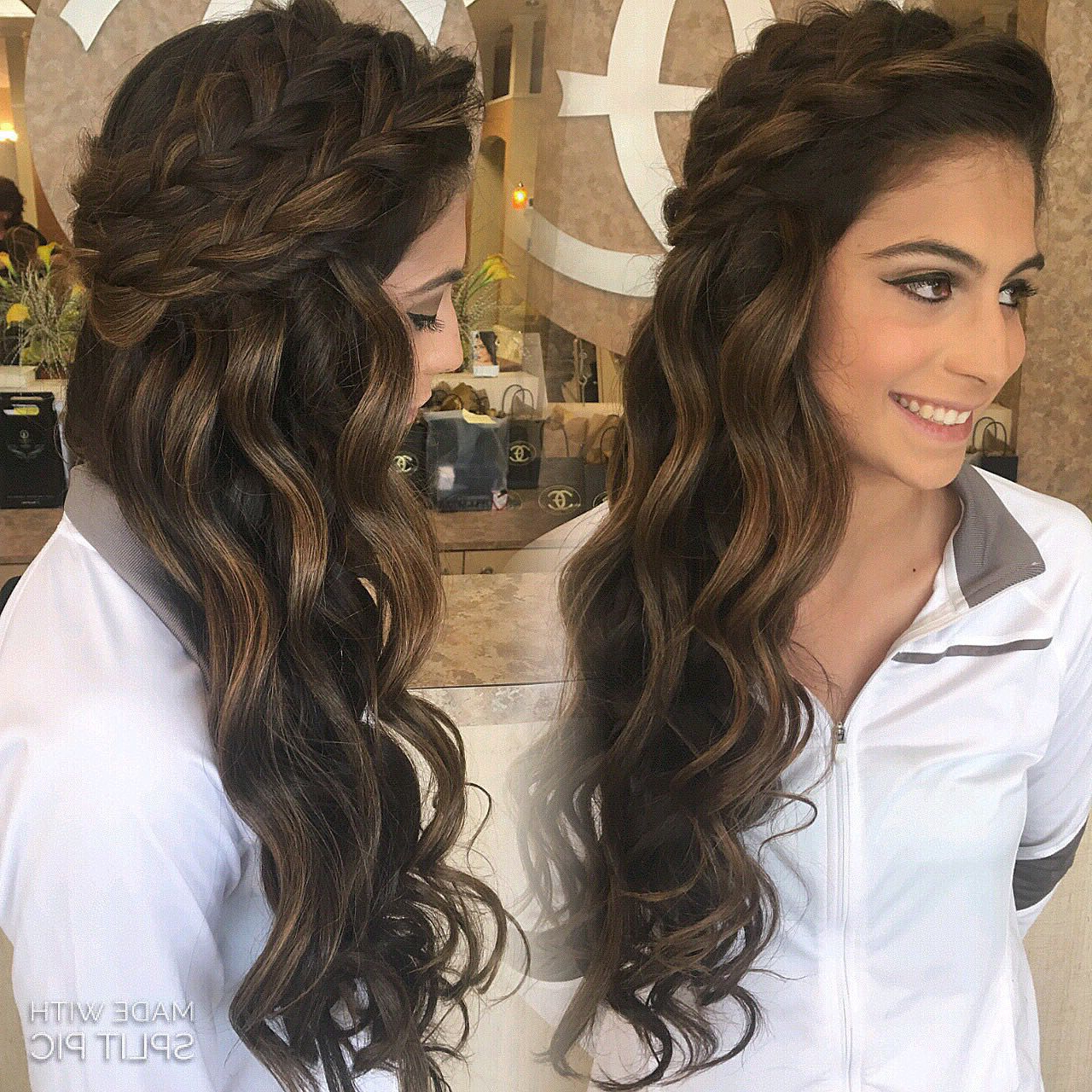 Famous Big And Fancy Curls Bridal Hairstyles Pertaining To Down Style Summer Spring Wedding Boho Braids Big Braids Down Wedding (View 12 of 20)