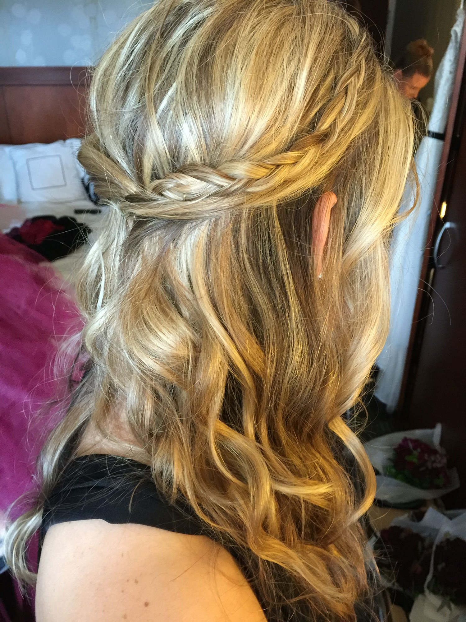 Famous Dimensional Waves In Half Up Wedding Hairstyles With Medium Length Half Up Hair, Braids, Curls, Soft Waves For A Wedding (View 9 of 20)