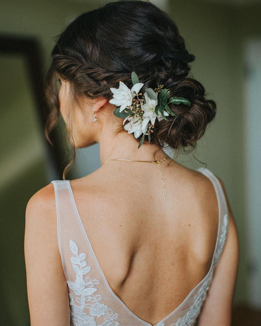 Famous Double Braid Bridal Hairstyles With Fresh Flowers Within In Love With This Elegant Wedding Hair Perfect For A Rustic Forest (View 4 of 20)