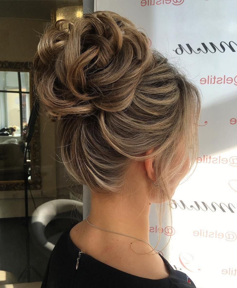Famous Large Bun Wedding Hairstyles With Messy Curls Within 60 Updos For Thin Hair That Score Maximum Style Point In 2019 (Gallery 2 of 20)