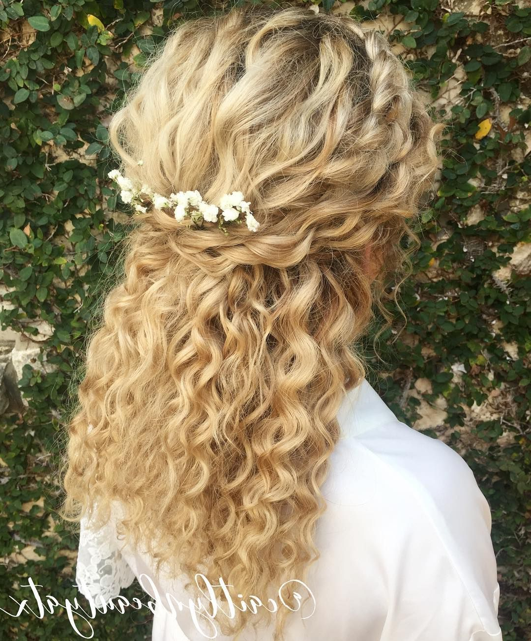 Famous Naturally Curly Wedding Hairstyles Inside Natural Curly Bridal Hair. Half Up, Half Down With A Braid On The (Gallery 10 of 20)