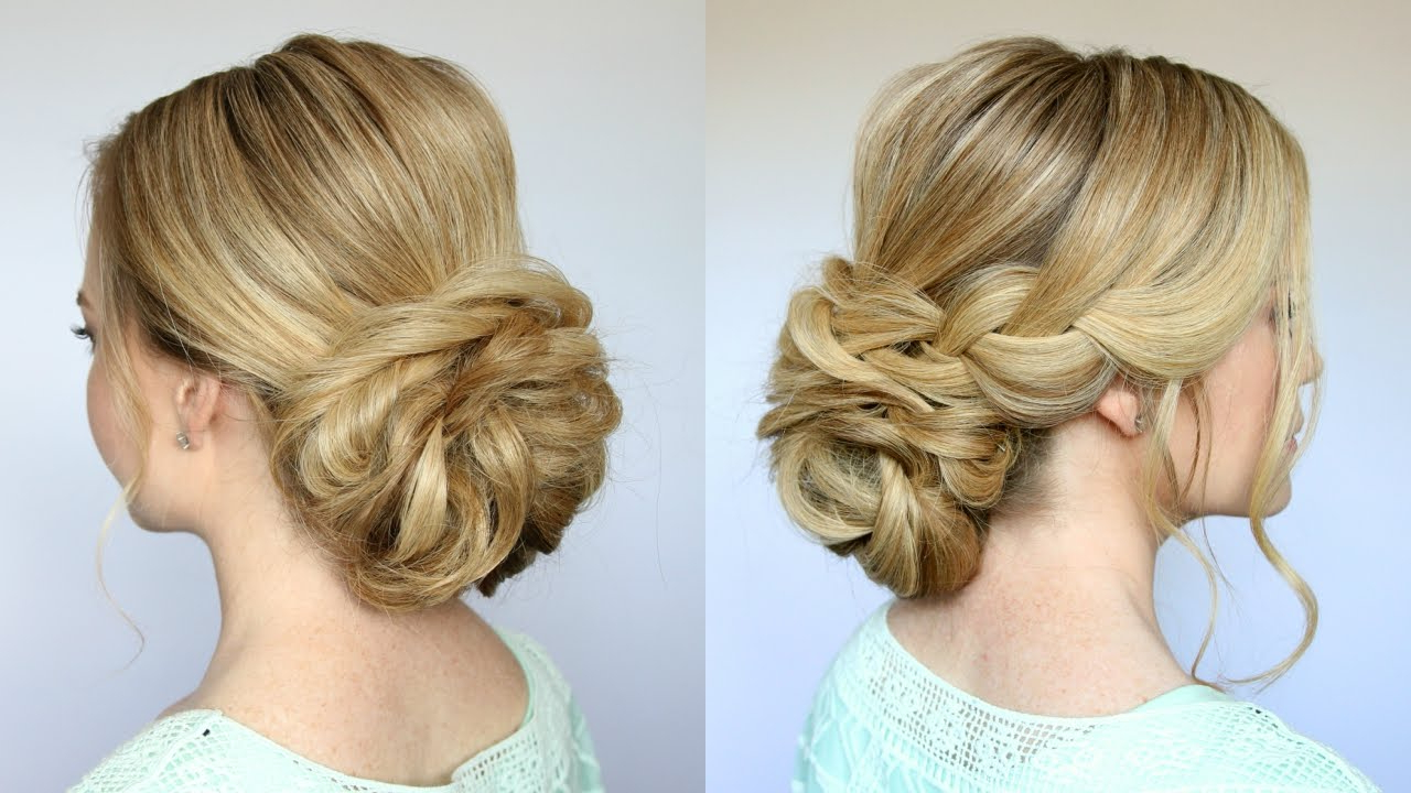 Famous Twisted Low Bun Hairstyles For Wedding Regarding Braid + Low Bun Updo (View 5 of 20)