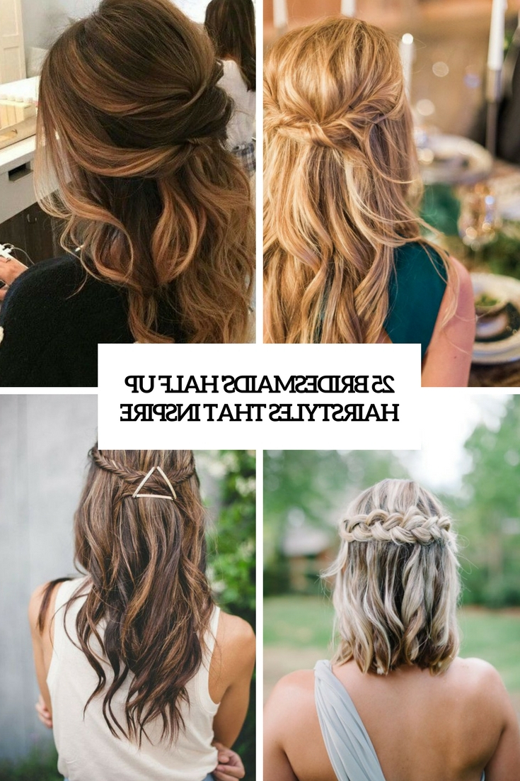 Fashionable Twists And Curls In Bridal Half Up Bridal Hairstyles Regarding 25 Bridesmaids' Half Up Hairstyles That Inspire – Weddingomania (View 7 of 20)