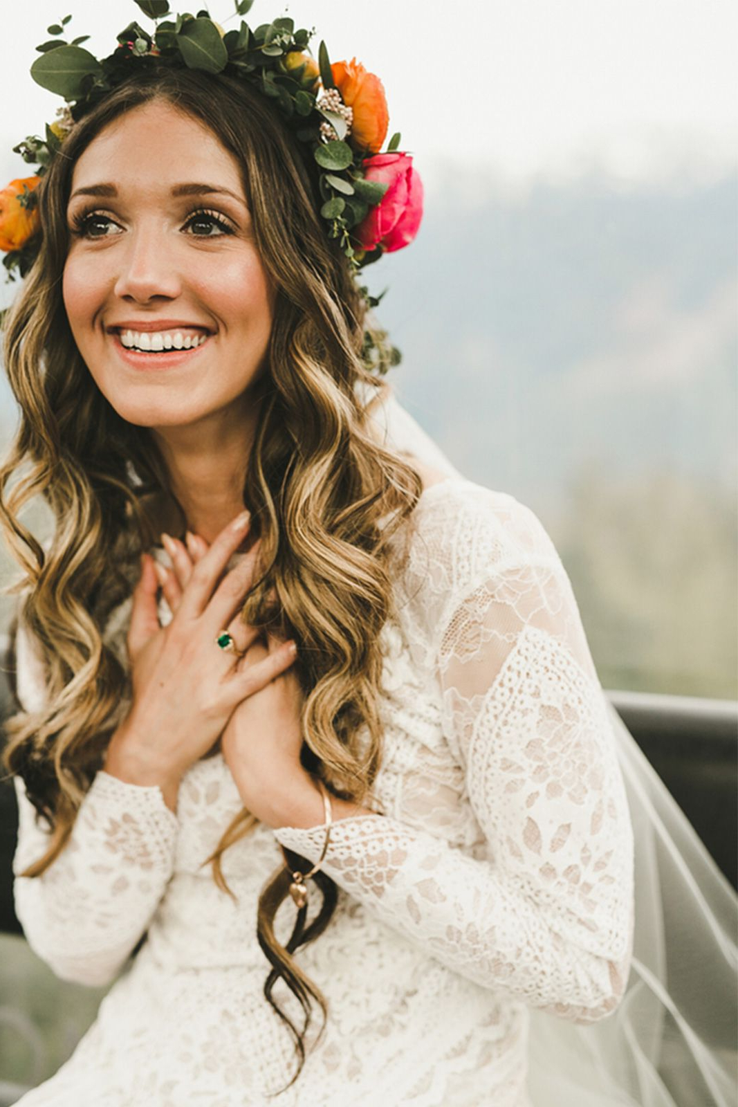 Favorite Bohemian Curls Bridal Hairstyles With Floral Clip Throughout Christopher + Candice May In The Inca (View 8 of 20)