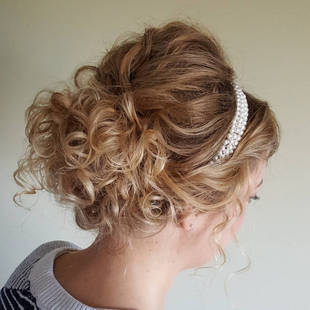Favorite Delicate Curly Updo Hairstyles For Wedding With Regard To 27 Curly Updos For Curly Hair (See These Cute Ideas For 2019) (View 7 of 20)