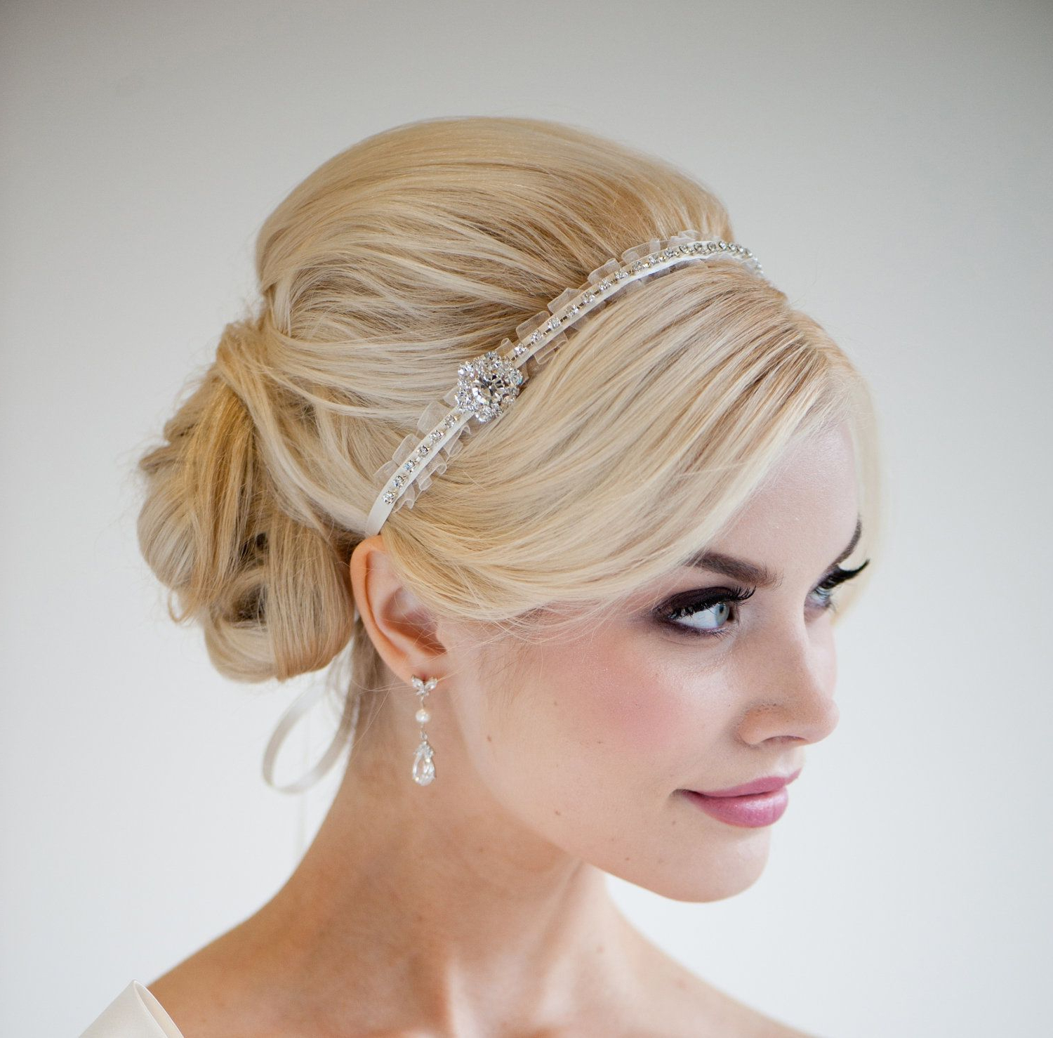 Favorite High Updos With Jeweled Headband For Brides Inside Bridal Headband, Bridal Ribbon Headband, Wedding Hair Accessory (View 8 of 20)