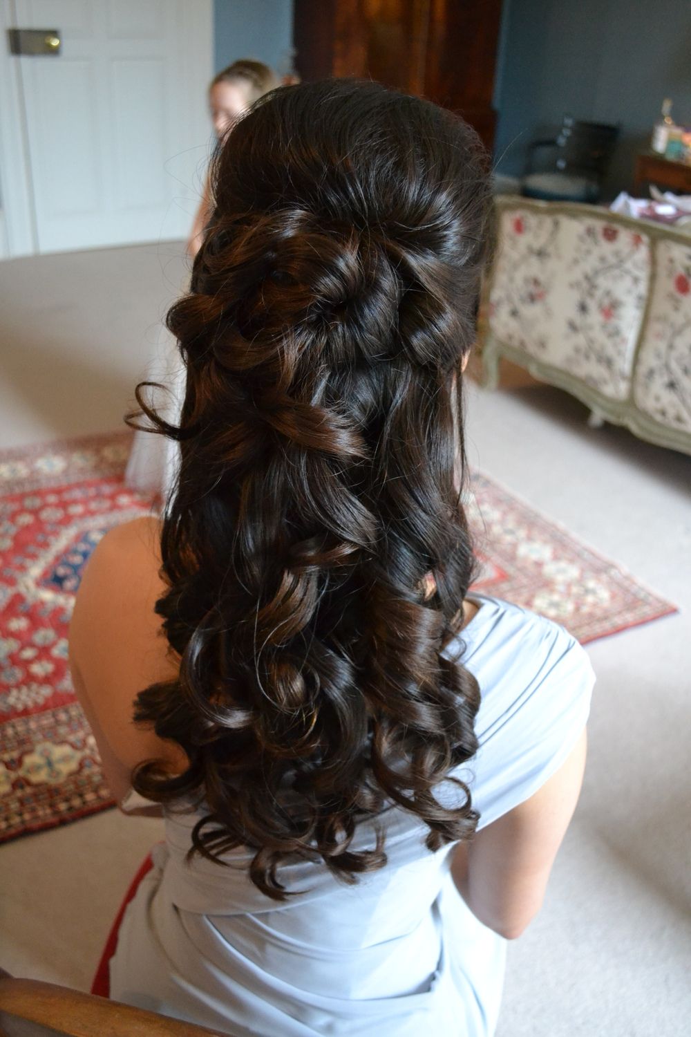 Favorite Long Curly Bridal Hairstyles With A Tiara Pertaining To Half Up Half Down Curly Bridesmaid Hairstyles With Tiara Formal (View 6 of 20)