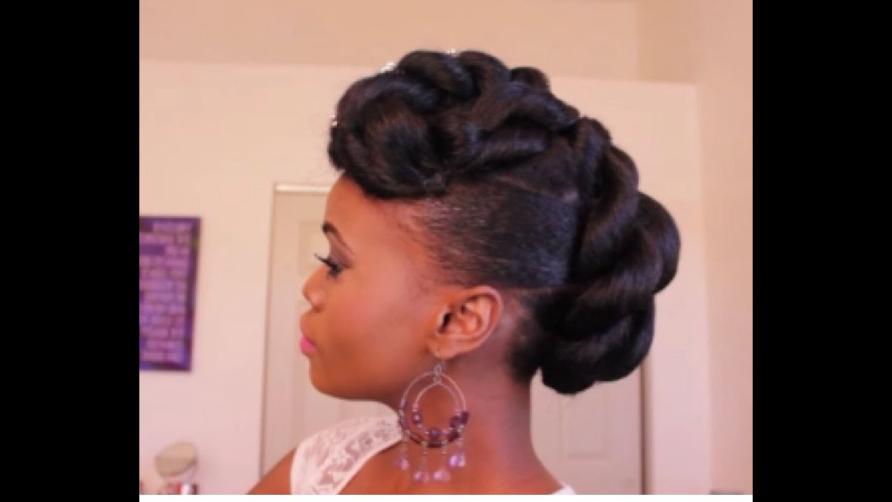 Favorite Pompadour Bun Hairstyles For Wedding Throughout Bridal Faux Updo With Braidng Hair On Ethnic Hair – Youtube (View 11 of 20)